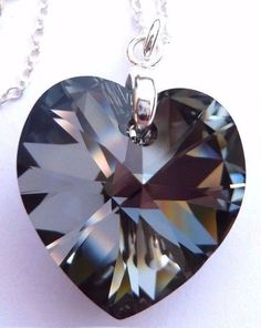 03d6b360a Details about Sterling SILVER NIGHT 18mm Black Grey Crystal Heart Necklace  SWAROVSKI ELEMENTS