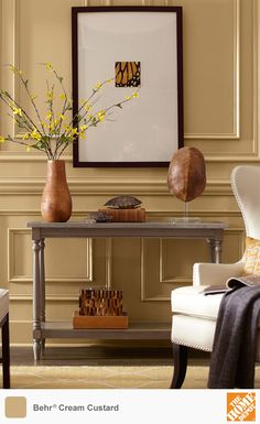 Decorators often use yellow paint to energize a room. This shade, Cream Custard from Behr Paint, is a muted yellow with just a bit of orange. It's a gorgeous backdrop for organic yellows and browns. W e have dozens of other yellow tones to choose from. Click through to find the perfect shade of yellow paint for your home.