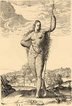 Black and white drawing of a young female Pict [a member of an ancient Celtic people from Scotland] standing with a tall spear upright in he...