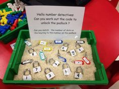 This is a great math center activity for children in preschool or kindergarten. Children would work individually within the small center group. Learning Numbers, Math Numbers, Teaching Math, Preschool Activities, Nursery Class Activities, Group Activities For Adults, Science Center Preschool, Reggio Emilia Preschool, Creative Curriculum Preschool