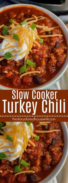 Simple to make right in your slow cooker and the best fall recipe. Serve this Sl… Simple to make right in your slow cooker and the best fall recipe. Serve this Slow Cooker Turkey Chili with warm cornbread or crackers Slow Cooker Desserts, Cooker Recipes, Slow Cooking, Cooking Turkey, Slow Cooker Chili, Slow Cooker Turkey Chilli, Crockpot Turkey Chili, Turkey Cooker, Easy Turkey Chili