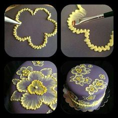 brush embroidery cake with yellow flowers Brush embroidery: a cake decorating technique that is so elegant, and so easy! You'll simply an already-covered cake, a paintbrush, and some thinned buttercream icing in an icing bag (the sma… Pretty Cakes, Beautiful Cakes, Amazing Cakes, Beautiful Flowers, Decoration Patisserie, Dessert Decoration, Cookie Cake Decorations, Chocolate Decorations, Flower Decorations