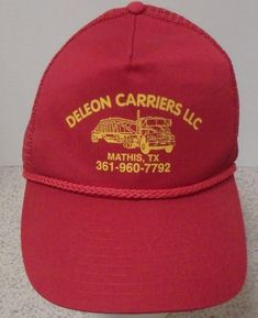 e77a10c9650 Deleon Carriers Mathis Texas Red Baseball Trucker Cap Hat Adjustable  Snapback