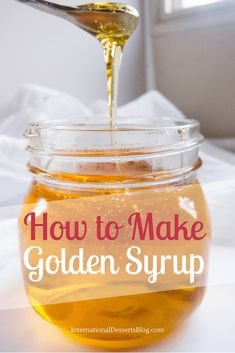 Gluten free - Vegan - How to make golden syrup. Don't spend a fortune on Golden Syrup at World Market when you make it at home! Perfect for treacle tart (Harry Potter's favorite) and more! Treacle Tart, Treacle Scones, Clotted Cream, Cake Candy, Salsa Dulce, Homemade Syrup, Dessert Blog, British Baking, Dessert Sauces