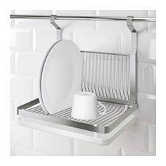 Kann an die Aufhängeleiste GRUNDTAL gehängt werden; spart Platz auf der Arbeitsfläche. Abnehmbares Tablett für Abtropfwasser.