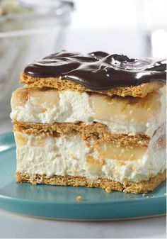 "No-Bake Banana Éclair ""Cake"" – You won't believe how easy it is to create this delicious dessert recipe! JELL-O® Instant Pudding, graham crackers, and COOL WHIP do all the work for you."