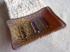 Plum and Gold Glass Soap Dish $17 #etsy #handmade #glass #soap #bath #decor #plum #gold #shimmering #brigteam #fused #home