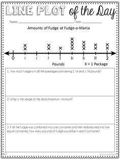 Line Plots: Line Plot of the Day Printables. Whole Number and Fractions Printables