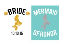 Mermaid bride iron on decal Mermaid of Honor by StilestarDesigns