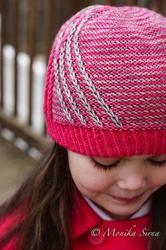 Hot pink and gray knit hat