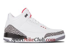 reputable site 448a8 fff75 Homme Air Jordan 3(III) Retro White Cement Grey Chaussures Nike Officiel Pas  Cher