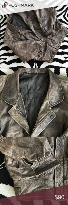 Vintage Leather Bomber Vintage Leather Bomber. Naturally worn & distressed Italian leather with quilted lining. Cool seam detailing on back. Jackets & Coats