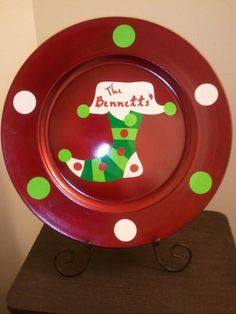 custom made christmas plates by krazykraftz on etsy - Christmas Charger Plates