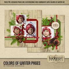 Colors Of Winter Pages - Winter is here and these pre-designed customizable pages will help you finish your winter projects quickly and easily. Available exclusively at Forever. Designer: Roxanne Buchholz