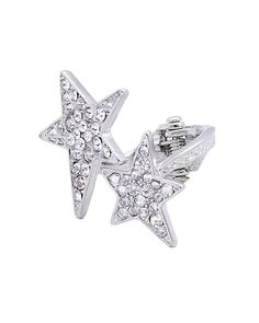 STAR PAVE HINGE RING - VR0045-SILVER CLEAR