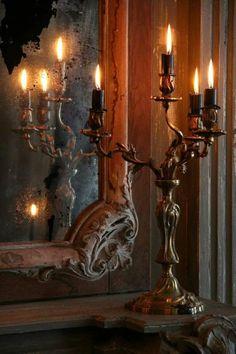 Magic mirror, glowing candle light