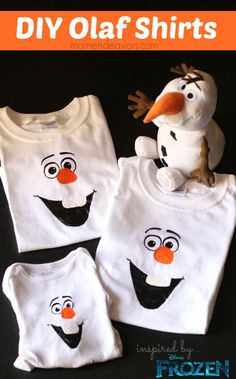 DIY Olaf Shirts - with FREE template via momendeavors.com. Perfect for a Disney Frozen Party!