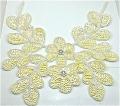 """Flower Neck Line with Creamy Color Sequins and Beads 10.5"""" x 10"""""""
