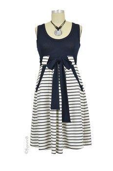 Lillian Maternity Dress in Navy & White Stripes