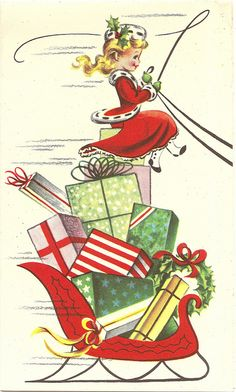 What a delightfully sweet vintage representation of how I often feel during the holiday!
