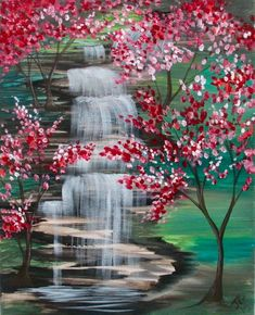 falls and cherries Easy Canvas Painting, Simple Acrylic Paintings, Autumn Painting, Acrylic Art, Diy Painting, Canvas Art, Landscape Art, Landscape Paintings, Waterfall Paintings