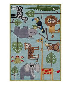 Take a look at this Blue Safari Rug by Lil Mo by Momeni on #zulily today!