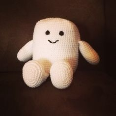 I definitely do not recommend working this much amigurumi  in one sitting. (I can't really move my fingers right now.) But the Adipose is done!  Not too bad for a first figure.