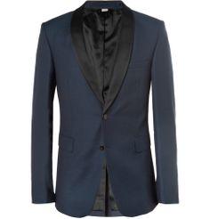 Burberry London - Slim-Fit Textured Wool-Blend Tuxedo Blazer|MR PORTER