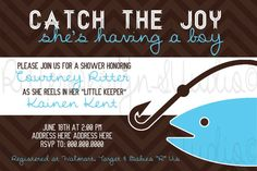 Fishing Baby Shower Invitation Catch the joy by RitterDesignStudio, $16.00