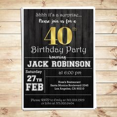 Surprise 40th Birthday Party Invitations For Him Men Adult