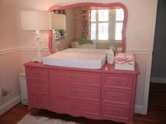 Vintage Dresser Repainted with Annie Sloan's Chalk Paint in a Baby Girl Nursery - love this bubblegum pink color!