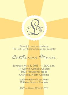 First Holy Communion Invitation  yellow and by TheButterflyPress, $10.00