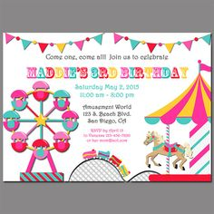 Carousel Amut Park Invitation Printable Or By Thatparty Birthday Parties
