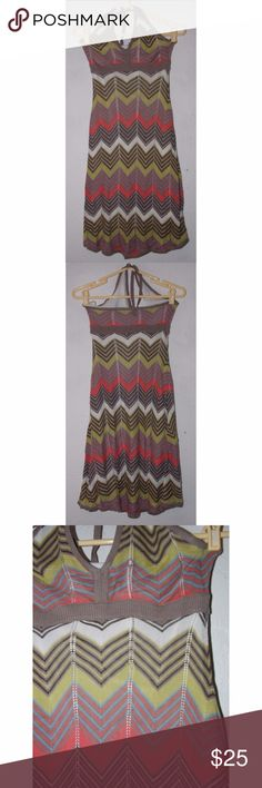 BCBG Max Azria Chevron XS Halter Dress Striped Size XS.  Spaces between 'panels' are stretched in spots (see close up photo); the lined layer has a few light stains - not seen when worn. BCBGMaxAzria Dresses Midi
