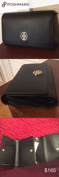 "Tory Burch ""Robinson"" Black Leather wallet. NWT New, with tag.... This Black (scratch resistant) Saffiano Leather medium size tri-fold wallet has 8 credit card slots, 1 bill area, 1 zipper coin compartment and 4 slip pockets to hold receipts, etc. On the outside is an additional large slip pocket. Very versatile, practical and classy! Tory Burch Bags Wallets"