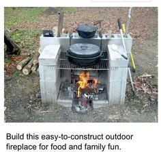 Cinder block fireplace.