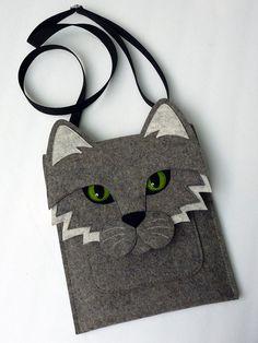 iPad mini case  Cat in gray felt by BoutiqueID on Etsy, $58.00