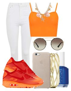 """Random :D"" by marvelfaith ❤ liked on Polyvore featuring Essie, Topshop, NIKE, WearAll and Prada"