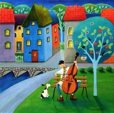 Cello Concert by Iwona Lifsches, acrylic on canvas, 15.7 H x 15.7 W x 0.7"