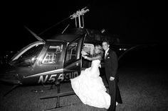 Summer and Dustin's helicopter departure from wedding at La Cima Club in Las Colinas.