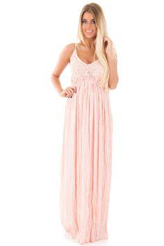 Lime Lush Boutique - Light Pink Crochet Bodice Open Back Maxi Dress, $46.99 (https://www.limelush.com/light-pink-crochet-bodice-open-back-maxi-dress/)