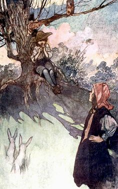 """A boy was sitting under a tree, playing on a rough wooden pipe. Illustration by Charles Robinson from """"The Secret Garden"""" (1911)"""