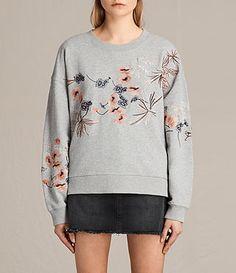 Women's Margot Embroidered Sweatshirt (Light Grey) - product_image_alt_text_2