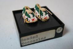 Rainbow Hand Beaded Moccasins Dollhouse Miniature Roombox -KG08 #RainbowHand