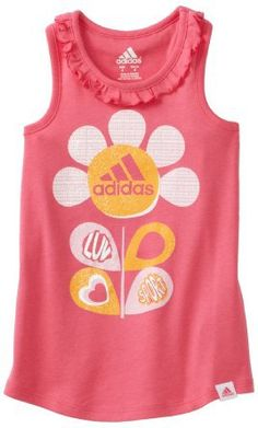 adidas Girls 2-6X Ruffle Tank Top, Bright Pink, 6