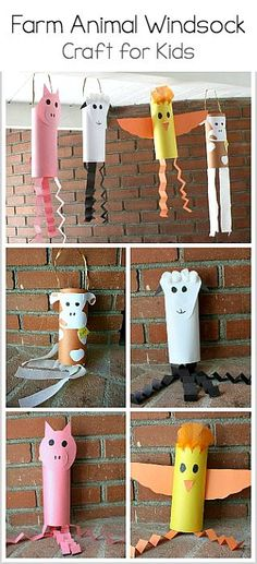 Farm Animal Windsock Craft for Kids: Includes directions on making a pig windsock, sheep windsock, chicken windsock, and cow windsock! Perfect for Kindergarten! ~ BuggyandBuddy.com