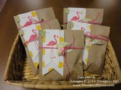 Flamingo Lingo Swap Bags for my Stampin' Up! Luau Catalog Launch Party