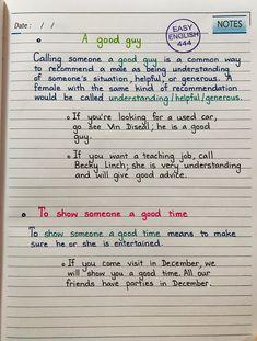English speaking #handwritten #Vocabulary Learn English Grammar, English Idioms, English Language Learning, Learn English Words, English Study, Grammar And Vocabulary, English Vocabulary, English Letter Writing, English Collocations