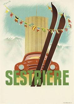 vintage ski poster by CHIARELLO -  SESTRIERE