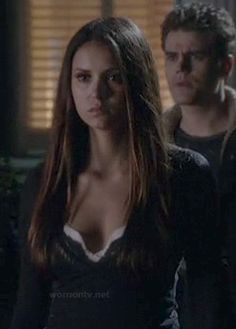 Elena's long sleeve lace henley top and cami on The Vampire Diaries.  Outfit Details: http://wornontv.net/13631/ #TheVampireDiaries